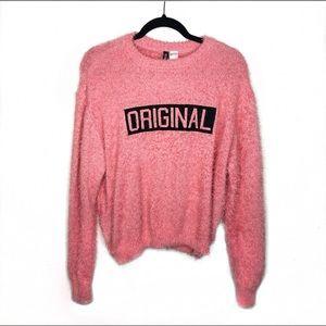 "NWT ""Original"" Pink Fuzzy H&M Sweater"